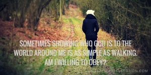 Sometimes showing who God is to the world around me is as simple as walking. Am I willing to obey-